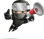 Funny Ninja Cartoon Vector Character AKA Hibiki the Flying Ninja - Loudspeaker