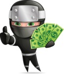 Funny Ninja Cartoon Vector Character AKA Hibiki the Flying Ninja - Show me the Money