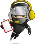 Funny Ninja Cartoon Vector Character AKA Hibiki the Flying Ninja - Support