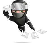 Funny Ninja Cartoon Vector Character AKA Hibiki the Flying Ninja - Mail 1