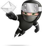 Funny Ninja Cartoon Vector Character AKA Hibiki the Flying Ninja - Mail 2