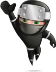 Funny Ninja Cartoon Vector Character AKA Hibiki the Flying Ninja - Wave