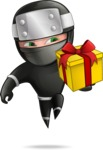 Funny Ninja Cartoon Vector Character AKA Hibiki the Flying Ninja - Gift