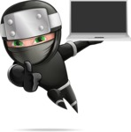 Funny Ninja Cartoon Vector Character AKA Hibiki the Flying Ninja - Laptop 1