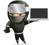 Funny Ninja Cartoon Vector Character AKA Hibiki the Flying Ninja - Laptop 3
