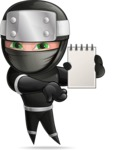 Funny Ninja Cartoon Vector Character AKA Hibiki the Flying Ninja - Note 2