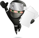 Funny Ninja Cartoon Vector Character AKA Hibiki the Flying Ninja - Note 3