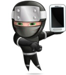 Funny Ninja Cartoon Vector Character AKA Hibiki the Flying Ninja - Smartphone 2