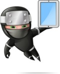 Funny Ninja Cartoon Vector Character AKA Hibiki the Flying Ninja - Tablet 2