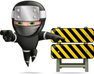 Funny Ninja Cartoon Vector Character AKA Hibiki the Flying Ninja - Under Construction 1