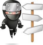 Funny Ninja Cartoon Vector Character AKA Hibiki the Flying Ninja - Crossroads