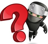 Funny Ninja Cartoon Vector Character AKA Hibiki the Flying Ninja - Question