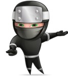 Funny Ninja Cartoon Vector Character AKA Hibiki the Flying Ninja - Showcase 2