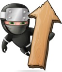 Funny Ninja Cartoon Vector Character AKA Hibiki the Flying Ninja - Pointer 2
