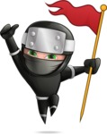 Funny Ninja Cartoon Vector Character AKA Hibiki the Flying Ninja - Check Point