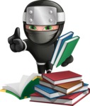 Funny Ninja Cartoon Vector Character AKA Hibiki the Flying Ninja - Books