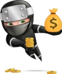 Funny Ninja Cartoon Vector Character AKA Hibiki the Flying Ninja - Profit