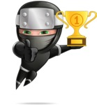 Funny Ninja Cartoon Vector Character AKA Hibiki the Flying Ninja - Champion