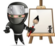 Funny Ninja Cartoon Vector Character AKA Hibiki the Flying Ninja - Artist