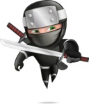 Funny Ninja Cartoon Vector Character AKA Hibiki the Flying Ninja - Swordmaster 1