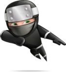 Funny Ninja Cartoon Vector Character AKA Hibiki the Flying Ninja - Show 1