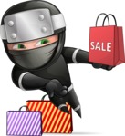 Funny Ninja Cartoon Vector Character AKA Hibiki the Flying Ninja - Sale 2