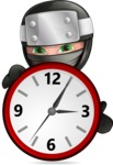 Funny Ninja Cartoon Vector Character AKA Hibiki the Flying Ninja - Time is Running Out