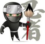 Funny Ninja Cartoon Vector Character AKA Hibiki the Flying Ninja - Creativity