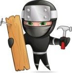 Funny Ninja Cartoon Vector Character AKA Hibiki the Flying Ninja - Repair