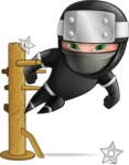 Funny Ninja Cartoon Vector Character AKA Hibiki the Flying Ninja - Training