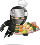 Funny Ninja Cartoon Vector Character AKA Hibiki the Flying Ninja - Sushi
