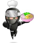 Funny Ninja Cartoon Vector Character AKA Hibiki the Flying Ninja - Ramen
