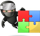 Funny Ninja Cartoon Vector Character AKA Hibiki the Flying Ninja - Puzzle