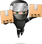 Funny Ninja Cartoon Vector Character AKA Hibiki the Flying Ninja - Delivery 1