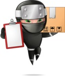 Funny Ninja Cartoon Vector Character AKA Hibiki the Flying Ninja - Delivery 2