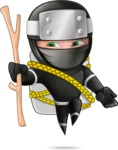 Funny Ninja Cartoon Vector Character AKA Hibiki the Flying Ninja - Travel