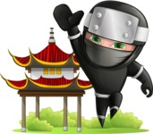 Funny Ninja Cartoon Vector Character AKA Hibiki the Flying Ninja - Temple