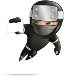 Funny Ninja Cartoon Vector Character AKA Hibiki the Flying Ninja - Sign 1