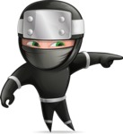 Funny Ninja Cartoon Vector Character AKA Hibiki the Flying Ninja - Point 1