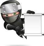 Funny Ninja Cartoon Vector Character AKA Hibiki the Flying Ninja - Sign 4