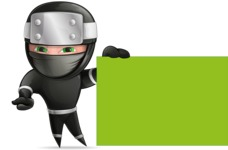 Funny Ninja Cartoon Vector Character AKA Hibiki the Flying Ninja - Sign 5