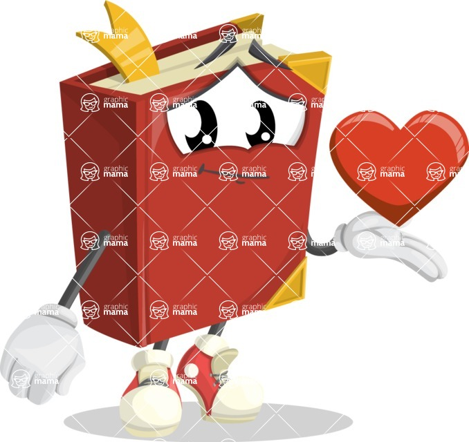 Cute Book Cartoon Vector Character AKA Bookie Paperson - Being Romantic With Heart