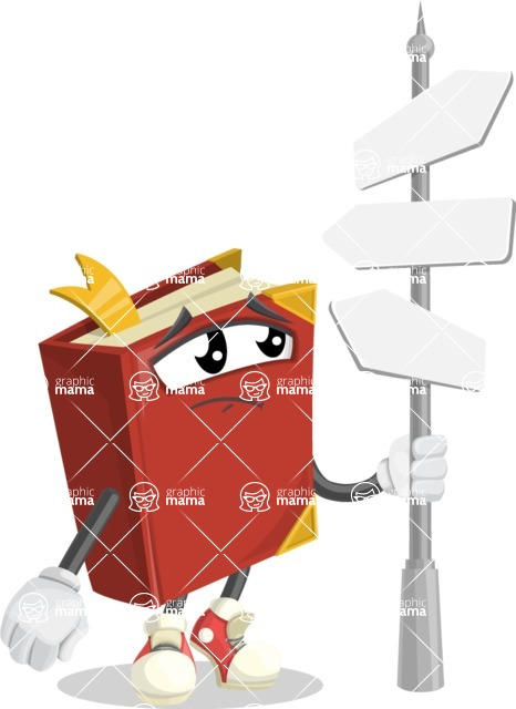 Cute Book Cartoon Vector Character AKA Bookie Paperson - Choosing Way with Street Sign pointing in all directions