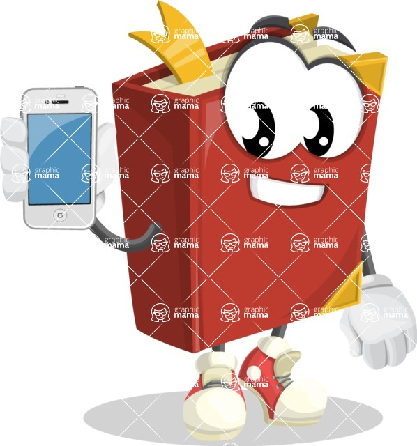 Cute Book Cartoon Vector Character AKA Bookie Paperson - Holding a Mobile Phone