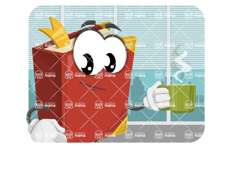 Cute Book Cartoon Vector Character AKA Bookie Paperson - In Office Illustration Concept