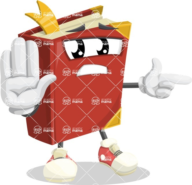 Cute Book Cartoon Vector Character AKA Bookie Paperson - Pointing with a Finger