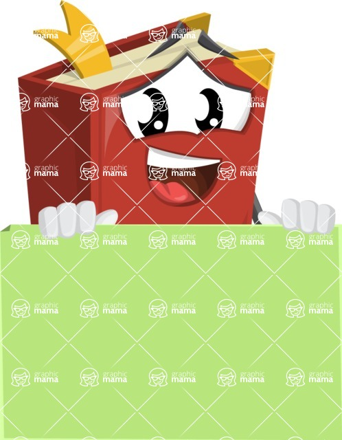 Cute Book Cartoon Vector Character AKA Bookie Paperson - Presenting A Blank Sign