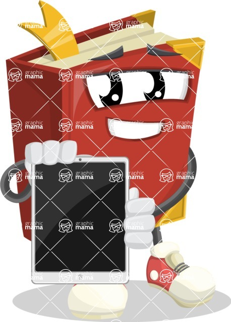 Cute Book Cartoon Vector Character AKA Bookie Paperson - Presenting Tablet