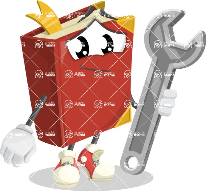 Cute Book Cartoon Vector Character AKA Bookie Paperson - with Repairing tool - wrench
