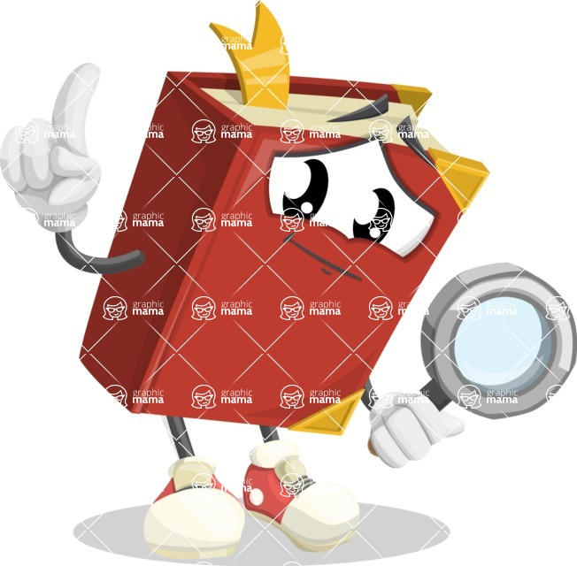Cute Book Cartoon Vector Character AKA Bookie Paperson - Searching with magnifying glass